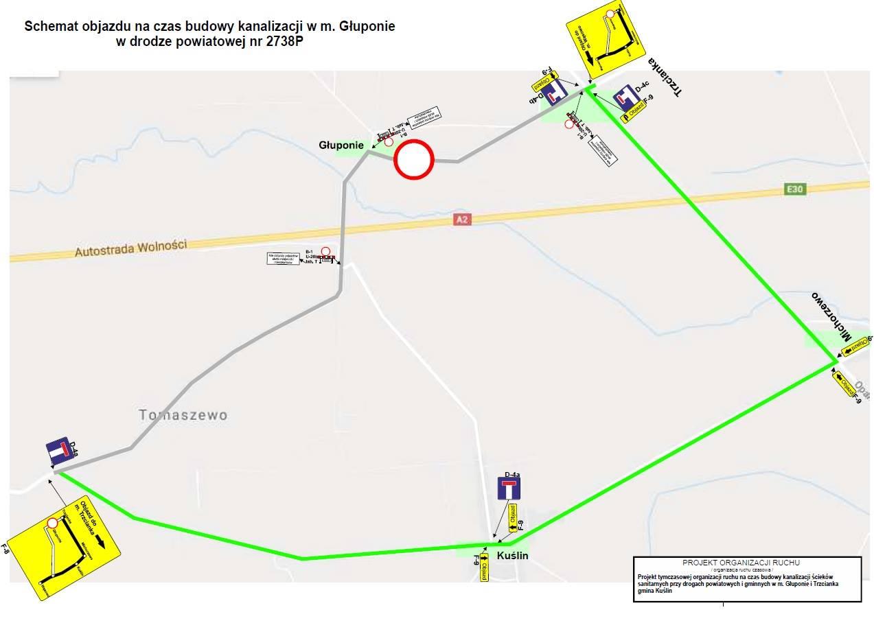 Ilustracja do informacji: Utrudnienia w ruchu na drodze powiatowej nr 2738P