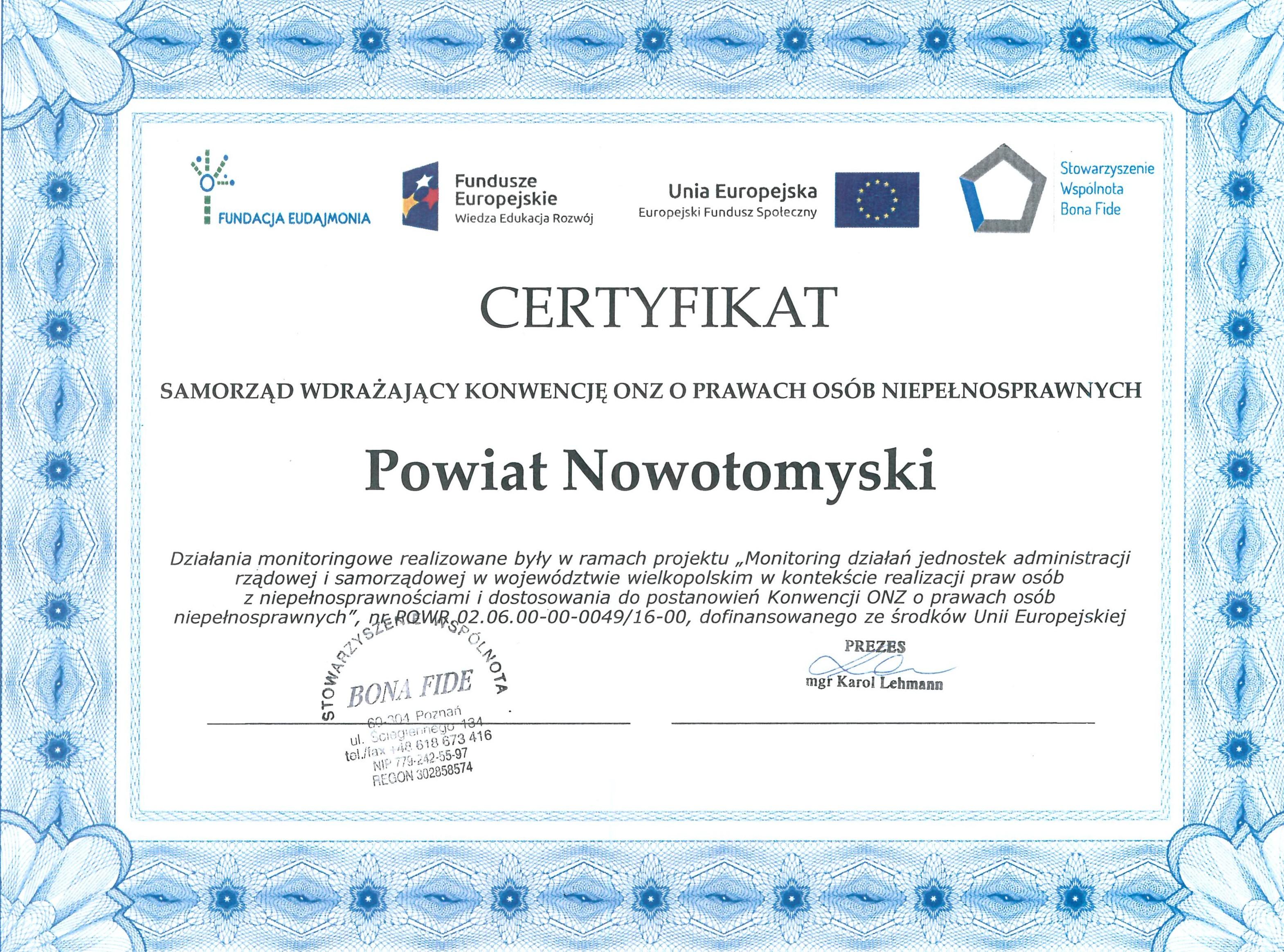 Ilustracja do informacji: Certyfikat dla Powiatu Nowotomyskiego