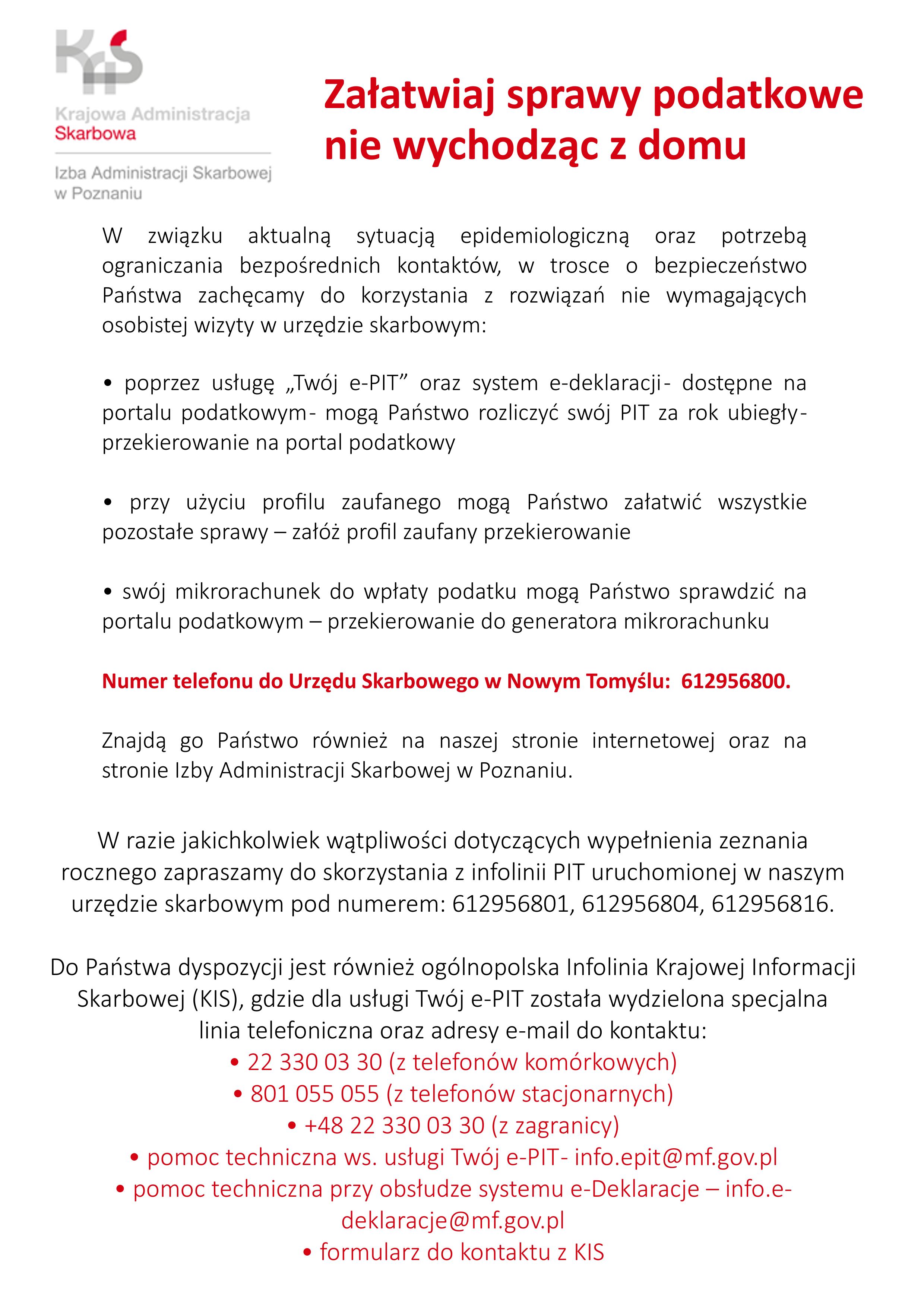 Ilustracja do informacji: Informacja dotycząca Urzędu Skarbowego w Nowym Tomyślu