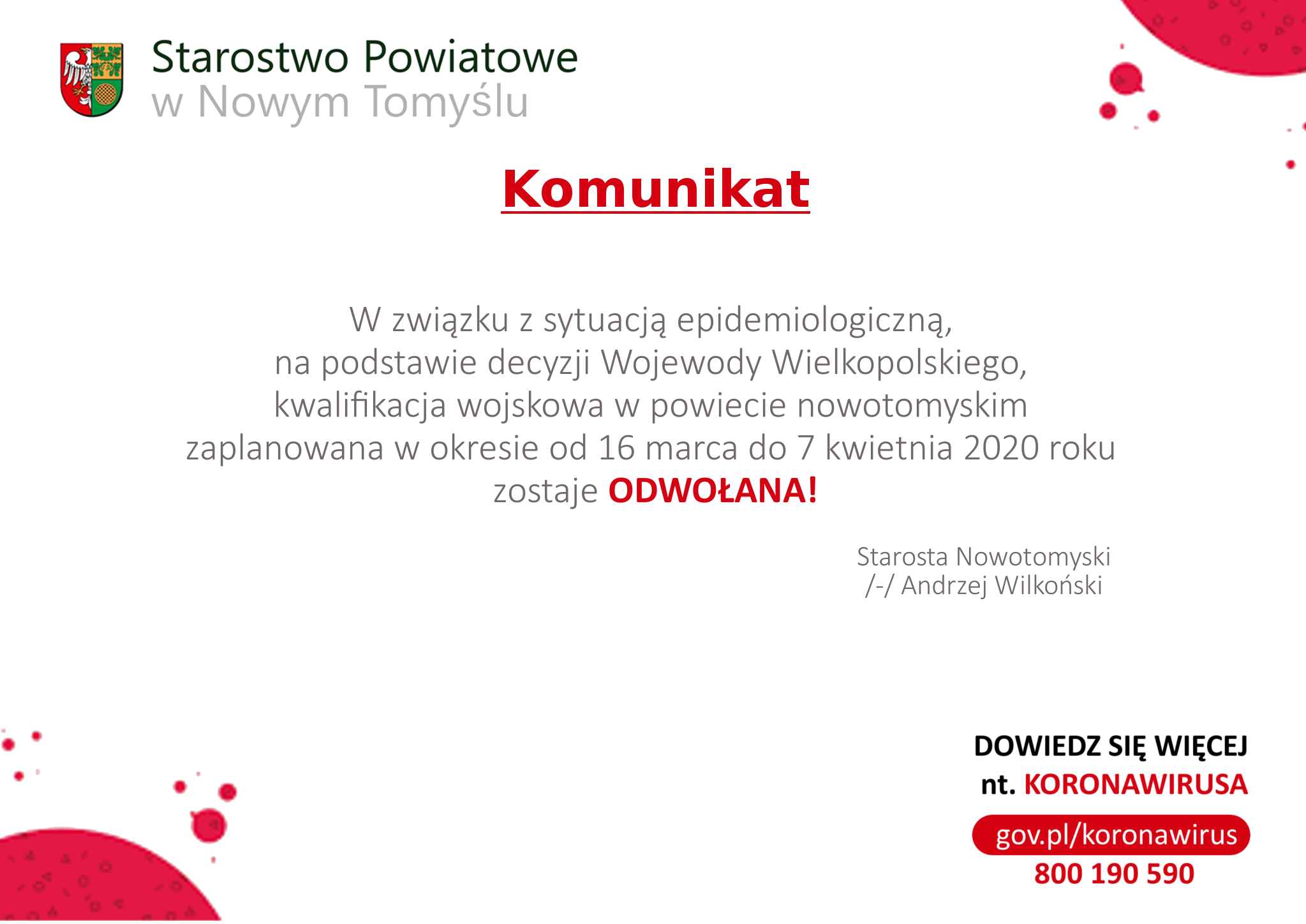 Ilustracja do informacji: Kwalifikacja wojskowa w powiecie nowotomyskim została odwołana.