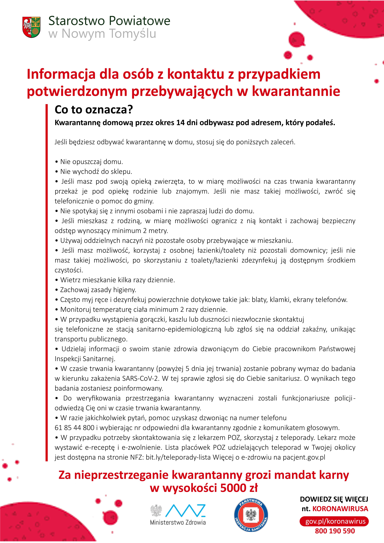 Ilustracja do informacji: Informacja dla osób z kontaktu z przypadkiem potwierdzonym przebywających w kwarantannie