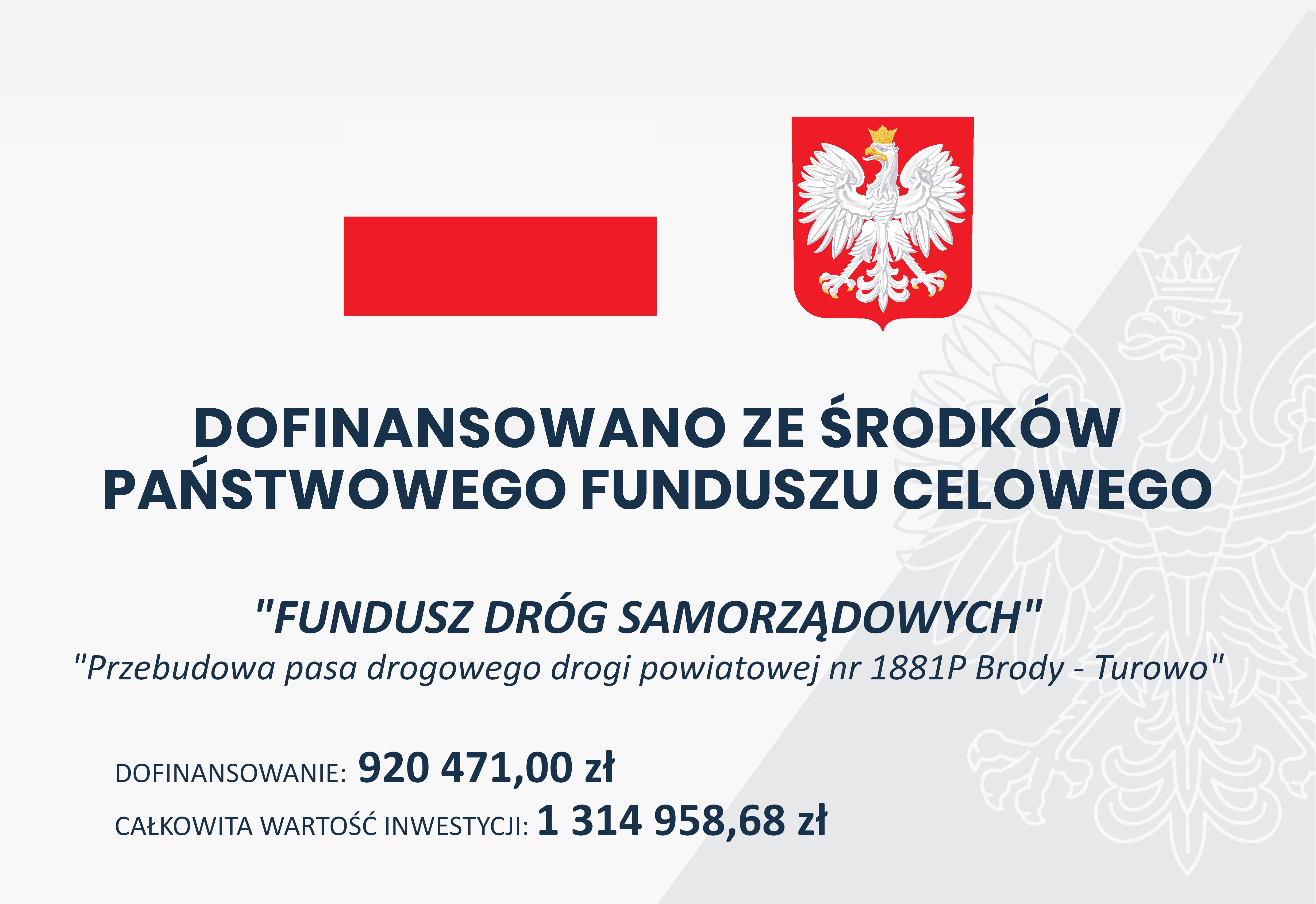 Ilustracja do informacji: Przebudowa pasa drogowego drogi powiatowej nr 1881P Brody - Turowo