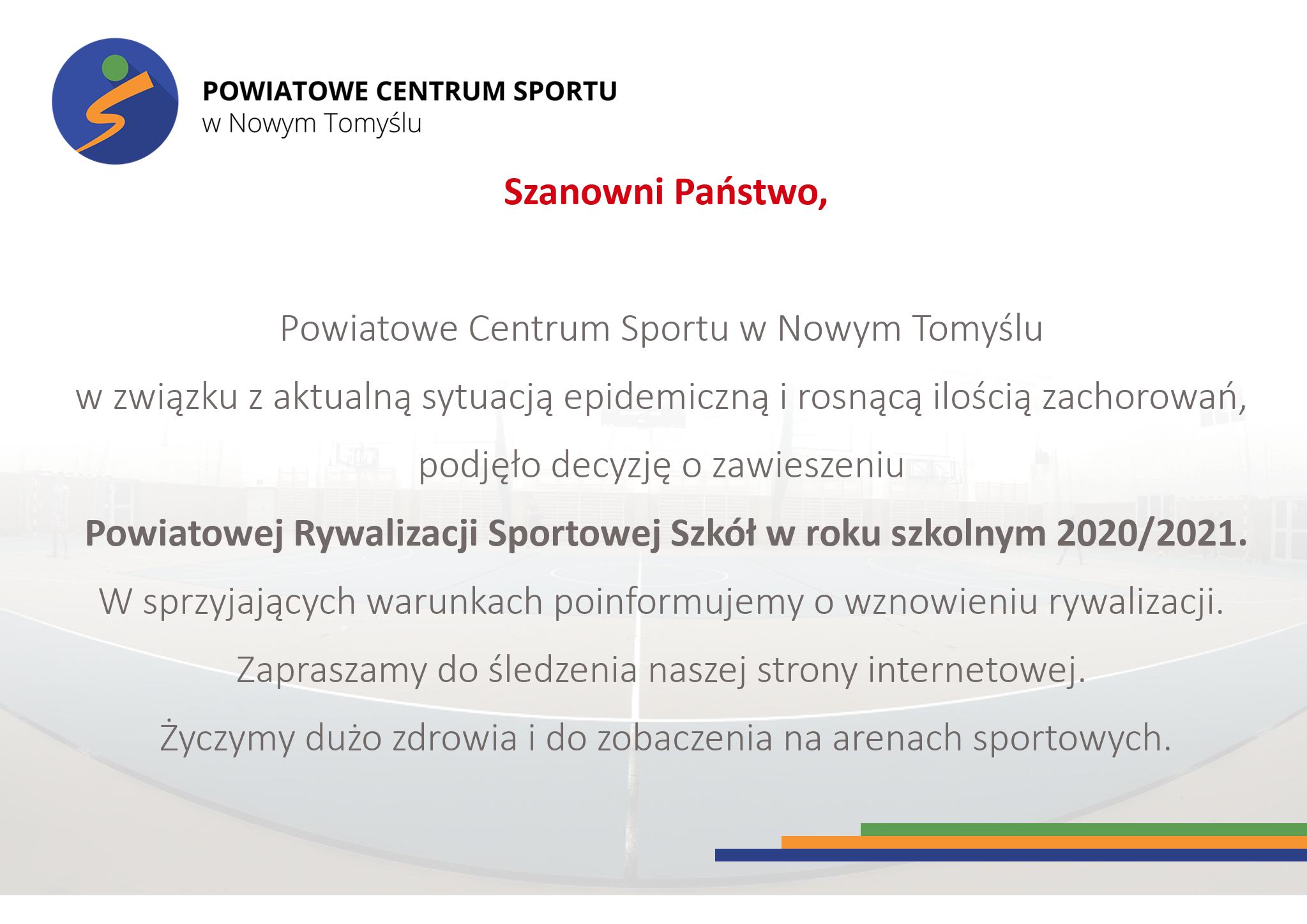 Ilustracja do informacji: Zawieszenie Powiatowej Rywalizacji Sportowej Szkół w roku szkolnym 2020/2021
