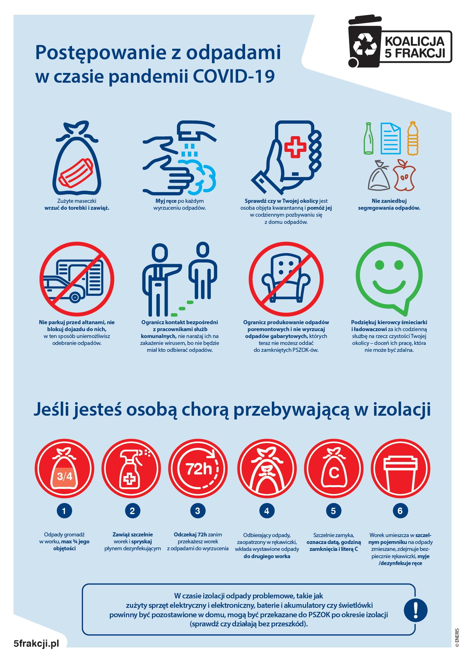 Ilustracja do informacji: Odbiór odpadów w czasie epidemii - ważne wskazówki dla mieszkańców