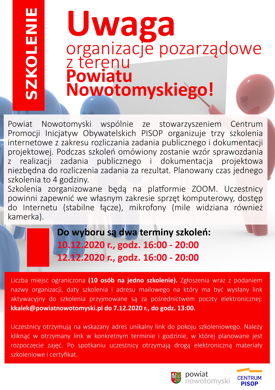 Ilustracja do informacji: Uwaga organizacje pozarządowe z terenu Powiatu Nowotomyskiego.