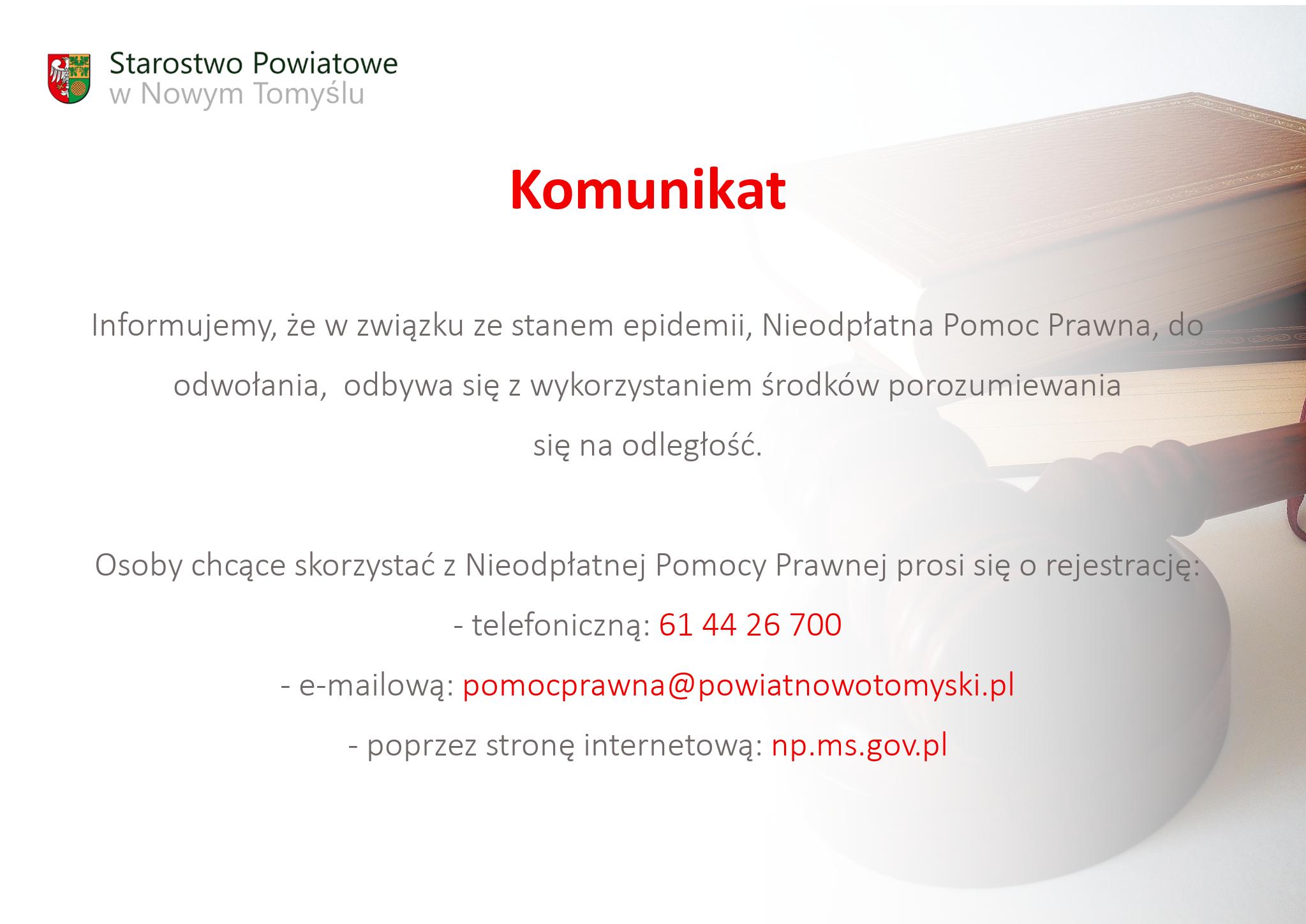 Ilustracja do informacji: Nieodpłatna Pomoc Prawna - Komunikat