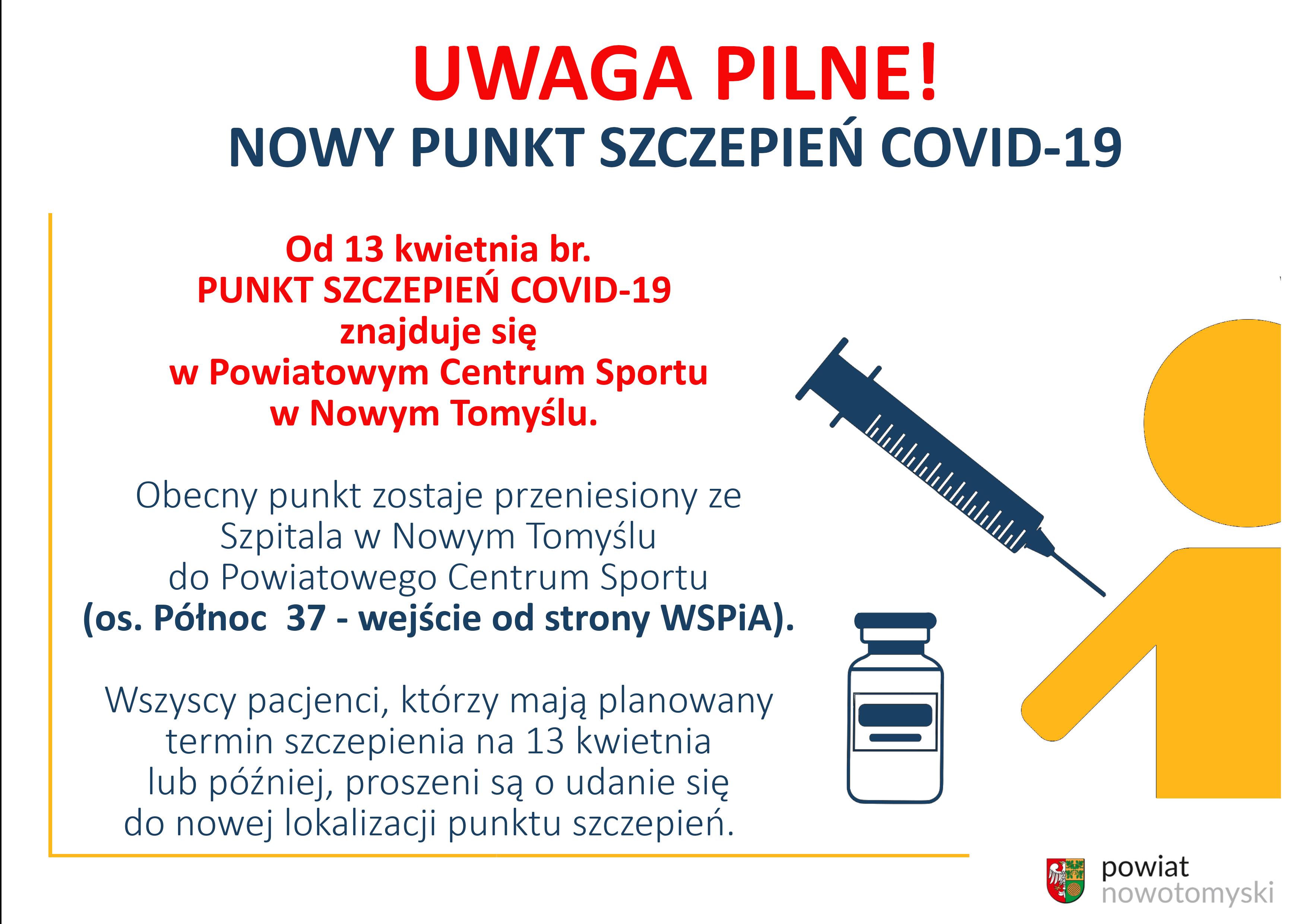 Ilustracja do informacji: UWAGA PILNE! NOWY PUNKT SZCZEPIEŃ COVID-19