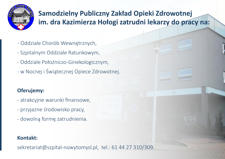 Ilustracja do informacji: Samodzielny Publiczny Zakład Opieki Zdrowotnej im. dra Kazimierza Hołogi zatrudni lekarzy